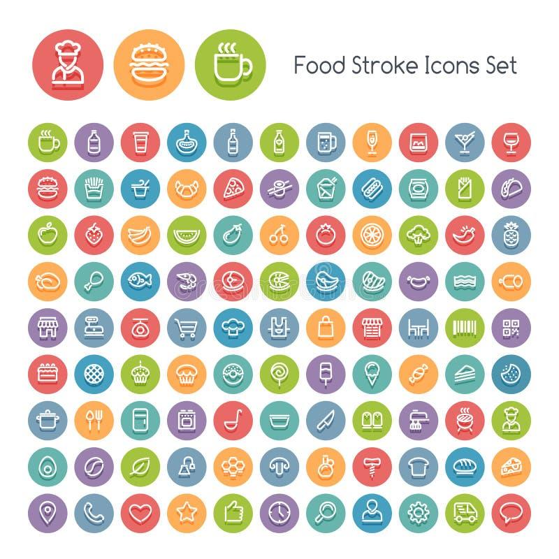 Grupo de ícones redondos do alimento do curso ilustração royalty free