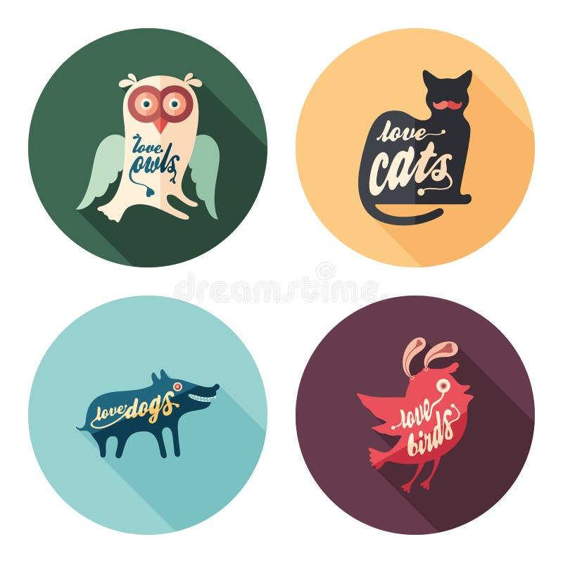 Grupo de ícones redondos lisos dos animais com sombras longas ilustração royalty free