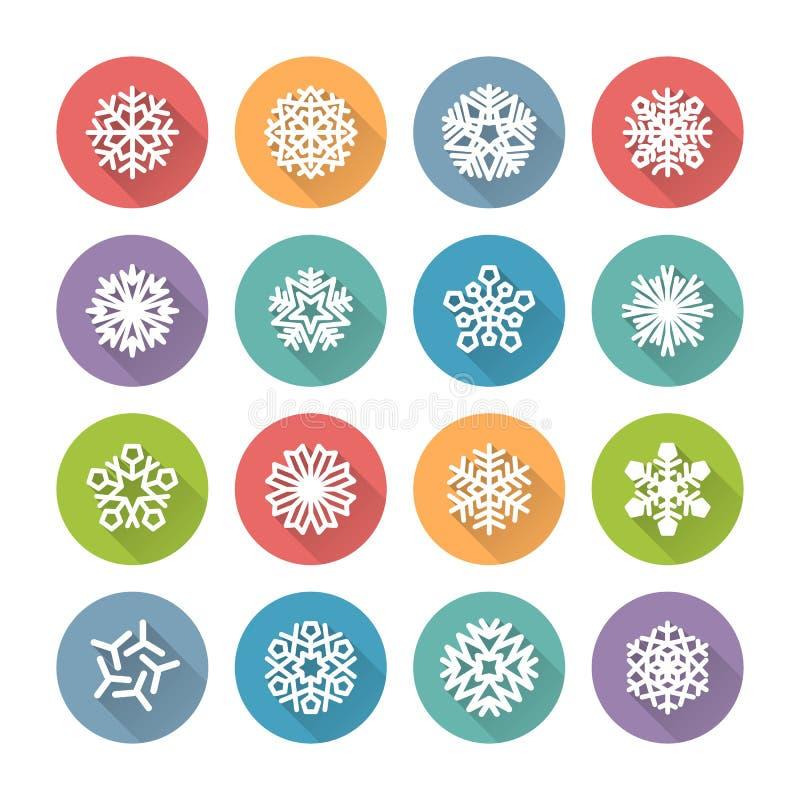 Grupo de ícones redondos simples dos flocos de neve para o projeto do Natal ilustração stock