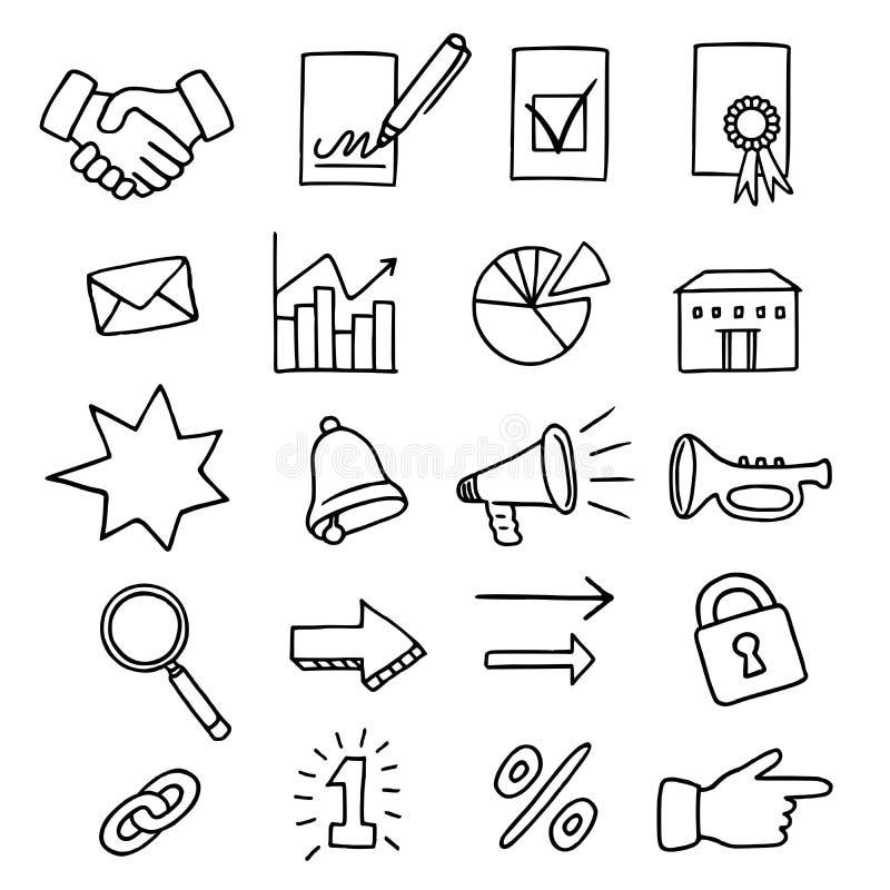 Grupo de 20 ícones relacionados com o mercado ilustração royalty free