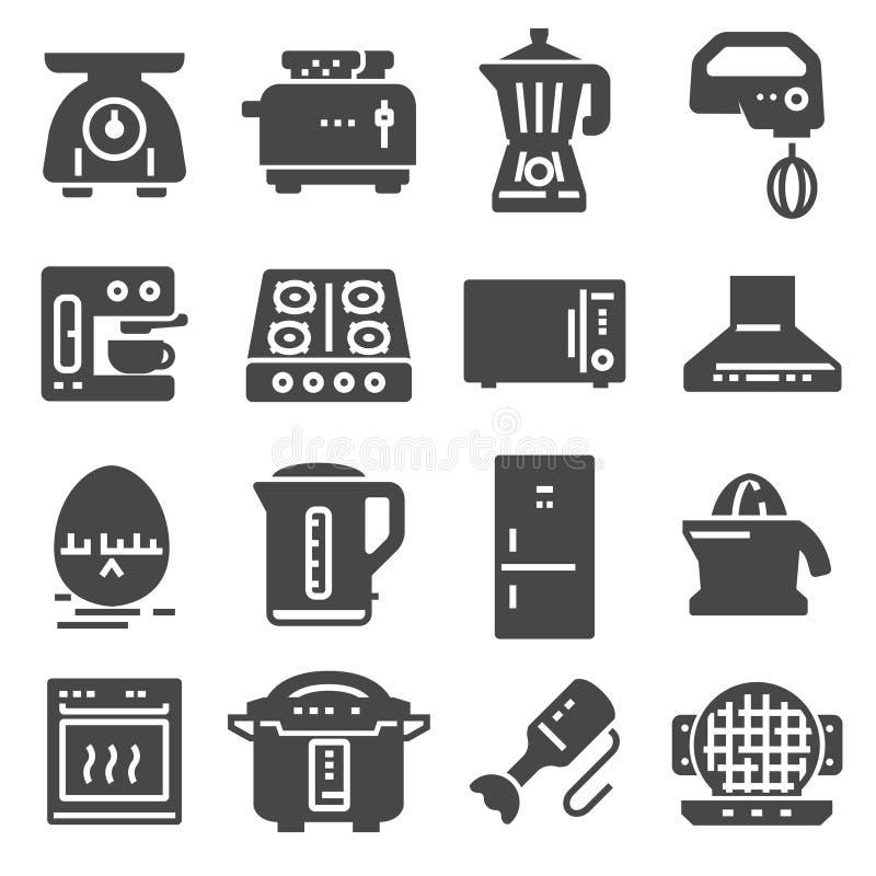 Grupo de ícones relacionados do preto do vetor dos dispositivos de cozinha ilustração stock