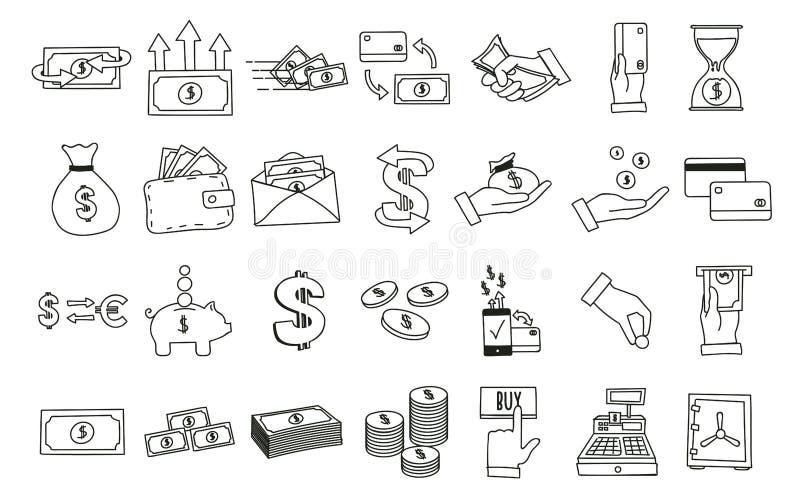Grupo de ícones relacionados tirados mão do dinheiro Vector ilustrações da garatuja com dinheiro, finança e assuntos relativos co ilustração stock