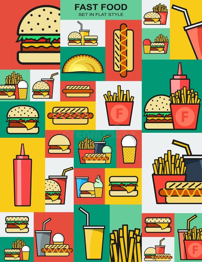Grupo de ícones retros com hamburgueres do fast food hamburger ilustração do vetor