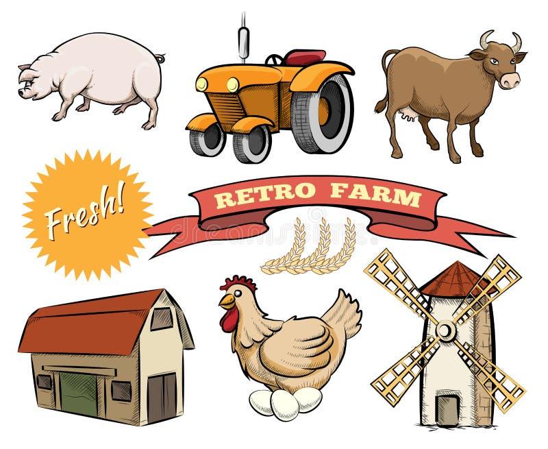Grupo de ícones retros do vetor da exploração agrícola ilustração royalty free