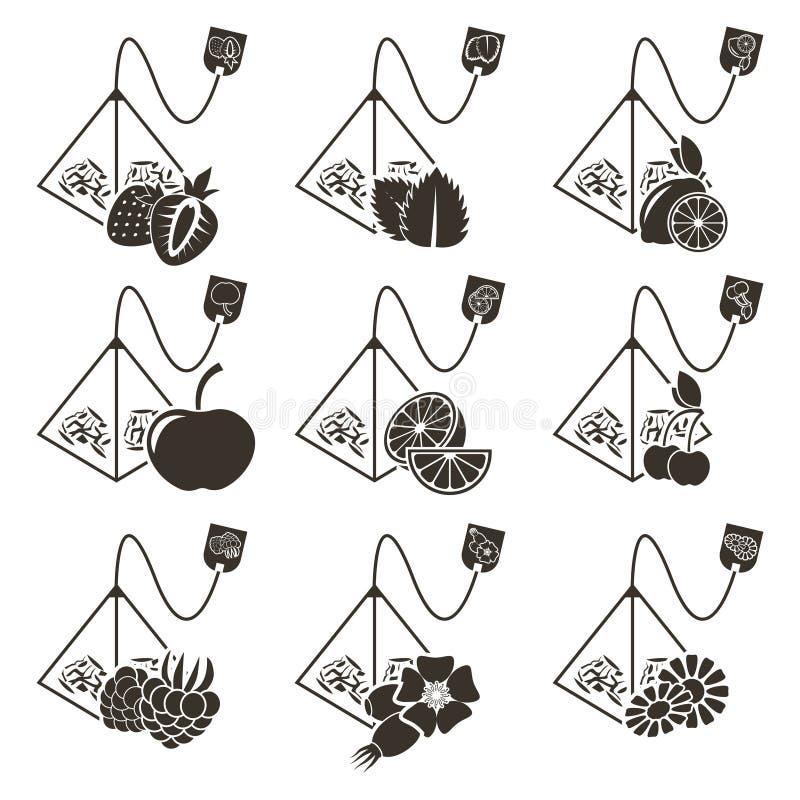 Grupo de 9 ícones de saco-pirâmides do chá com sabores diferentes das bagas, dos frutos e das ervas Logotipos isolados vetor no f ilustração do vetor