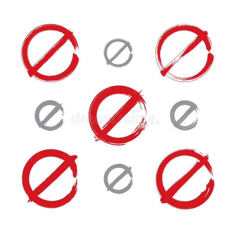 Grupo de ícones simples desenhados à mão da proibição do vetor, coleção ilustração do vetor
