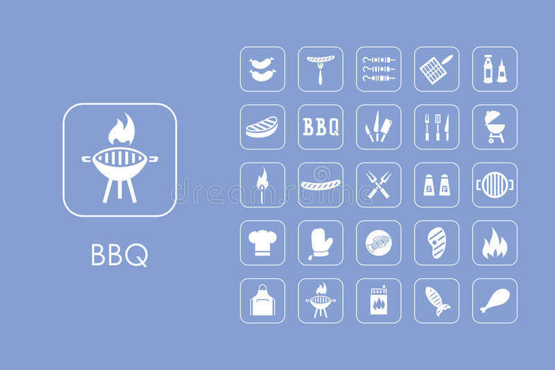 Grupo de ícones simples do BBQ ilustração do vetor