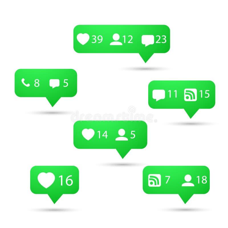 Grupo de ícones sociais do vetor da rede dos meios Inclua como, siga, ilustração royalty free