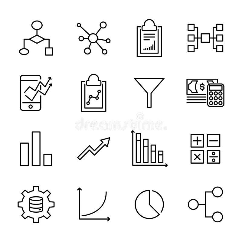 Grupo de ícones superiores da analítica dos dados na linha estilo ilustração stock