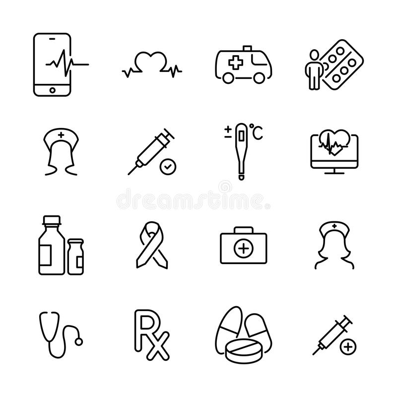 Grupo de ícones superiores da saúde na linha estilo ilustração royalty free
