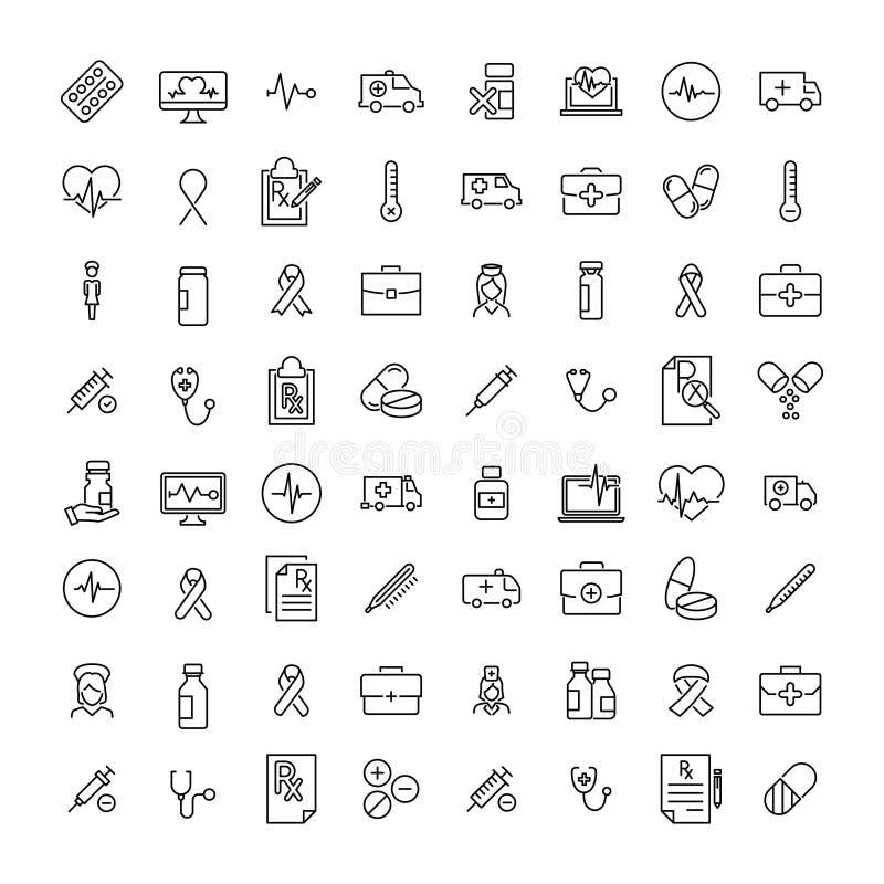 Grupo de ícones superiores da saúde na linha estilo ilustração stock