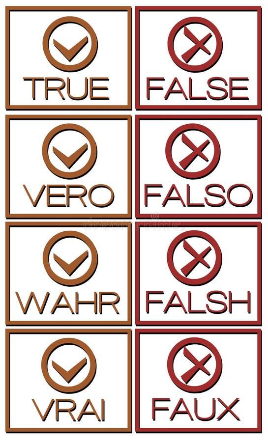 Grupo de ícones verdadeiros ou falsos em línguas diferentes ilustração royalty free