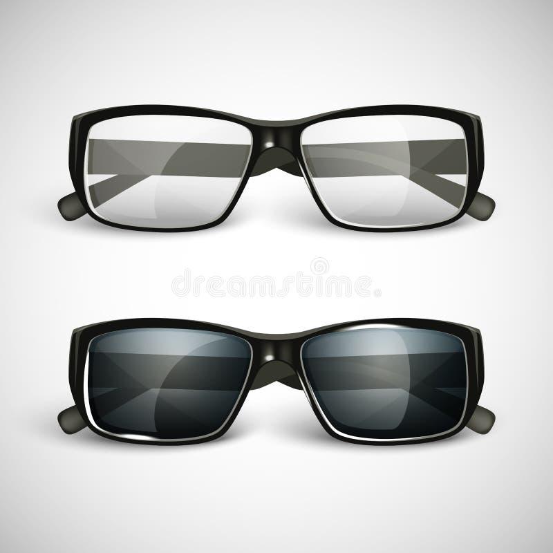 Grupo de óculos de sol e de eyeglasses ilustração stock