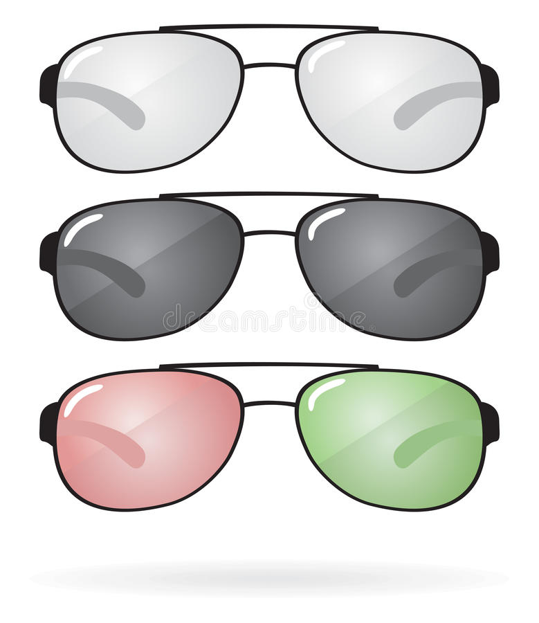 Grupo de óculos de sol e de eyeglasses Vetor ilustração royalty free
