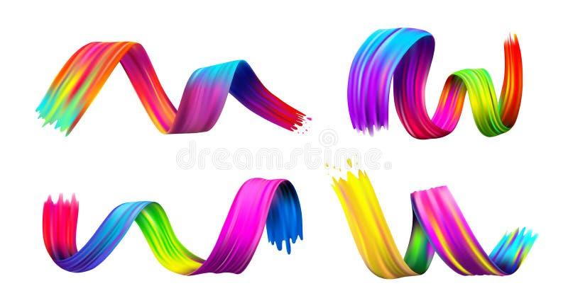 Grupo de óleo do curso da escova ou de elemento colorido do projeto da pintura acrílica Ilustração do vetor Isolado no fundo bran ilustração stock