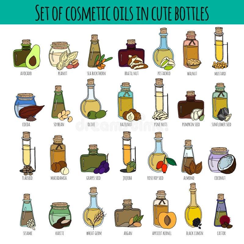 Grupo de óleos cosméticos ilustração do vetor