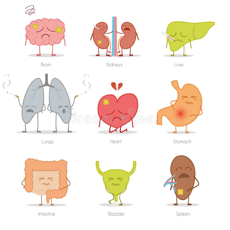 Grupo de 9 órgãos humanos doentes no estilo dos desenhos animados: cérebro, rins, fígado, pulmões, coração, estômago, intestino,  ilustração royalty free