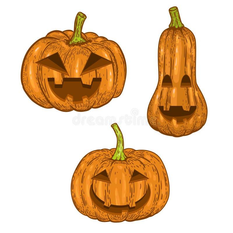 Grupo de abóbora assustador do Dia das Bruxas isolada no fundo branco Projete o elemento para o logotipo, etiqueta, emblema, sina ilustração do vetor