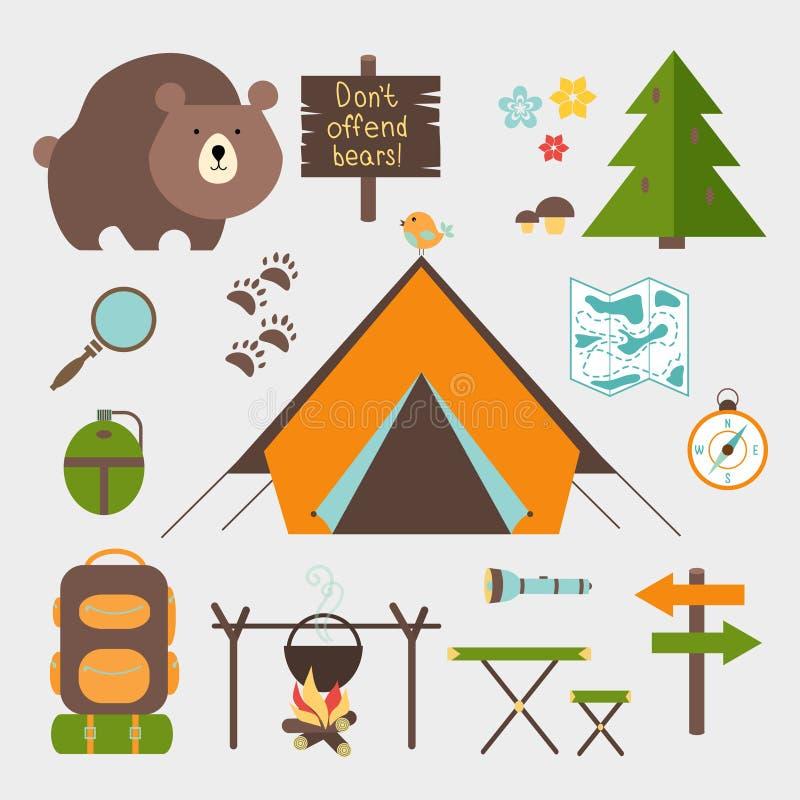 Grupo de acampamento da floresta dos ícones do vetor ilustração royalty free