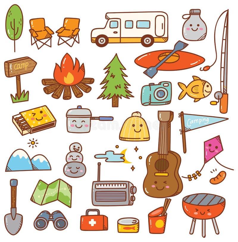Grupo de acampamento da garatuja do kawaii do material ilustração stock