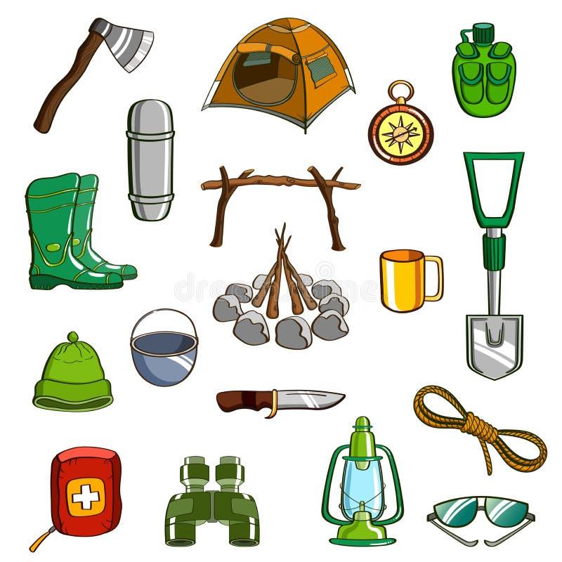 Grupo de acampamento do equipamento ilustração stock