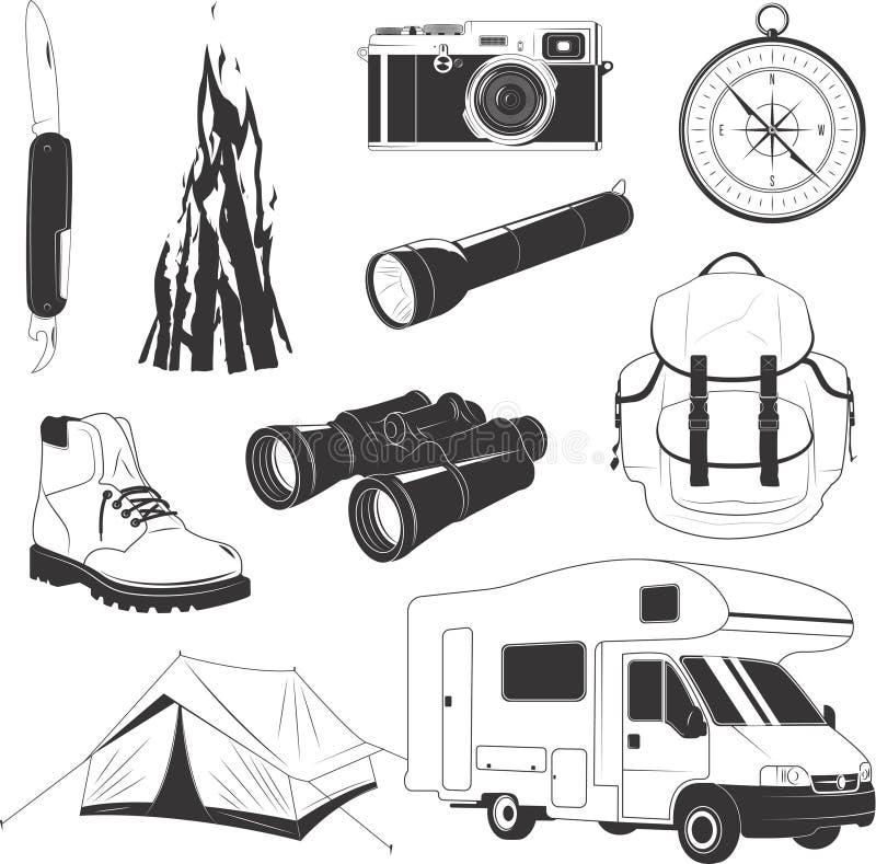 Grupo de acampamento do material ilustração do vetor