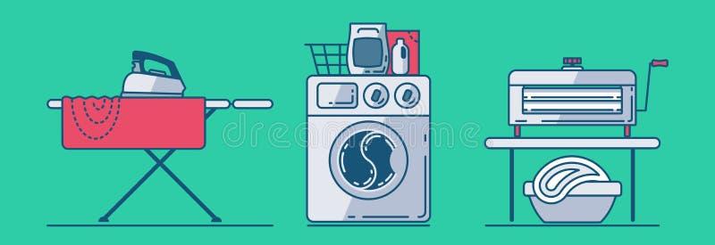 Grupo de acessórios da lavanderia tais como o ferro, tábua de passar a ferro, linho, máquina de lavar, cesta, pó de lavagem, espr ilustração do vetor