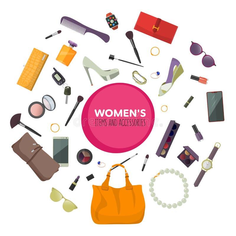 Grupo de acessórios de forma Artigos e acessórios das mulheres ilustração stock