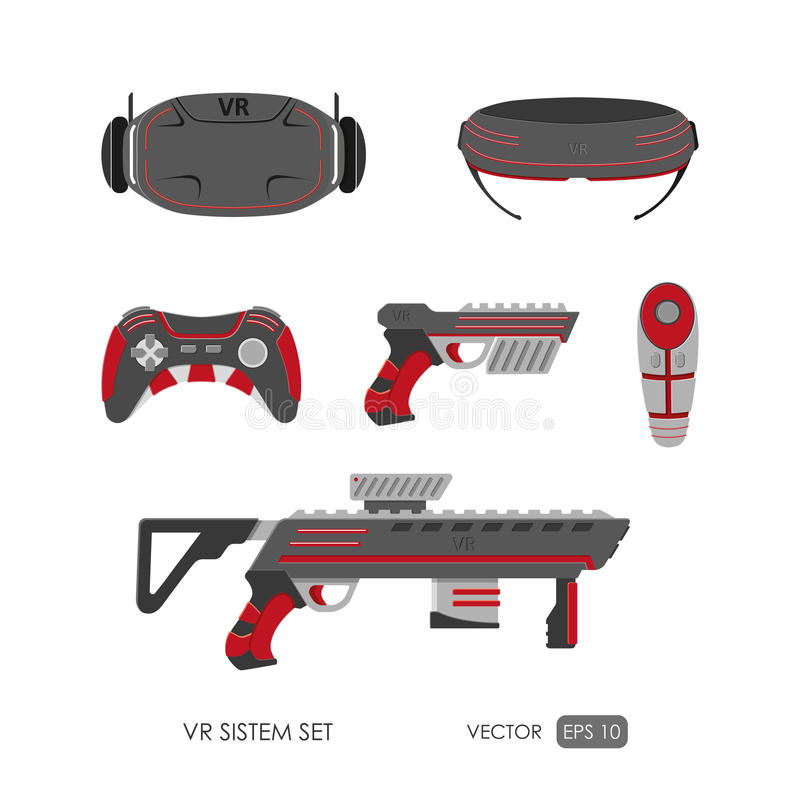 Grupo de acessórios para o sistema da realidade virtual em um backgro branco ilustração do vetor
