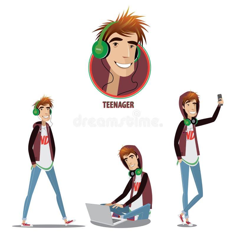 Grupo de adolescente em três posições ilustração royalty free
