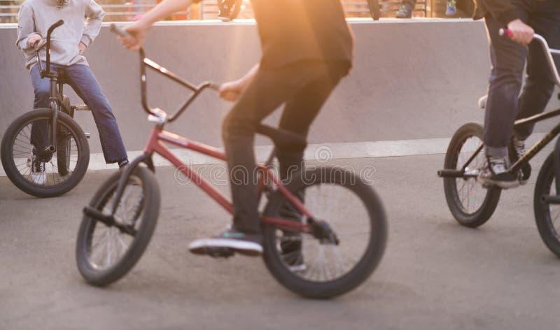 Grupo de adolescentes em bicicletas de Bmx em um parque do patim no por do sol Pés e bmx no por do sol Conceito de BMX fotografia de stock royalty free