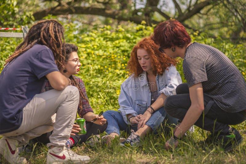 Grupo de adolescentes no parque imagens de stock
