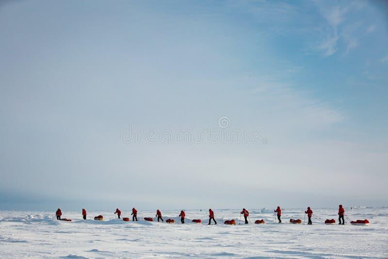 Grupo de adolescentes que vão à expedição ao Polo Norte fotos de stock