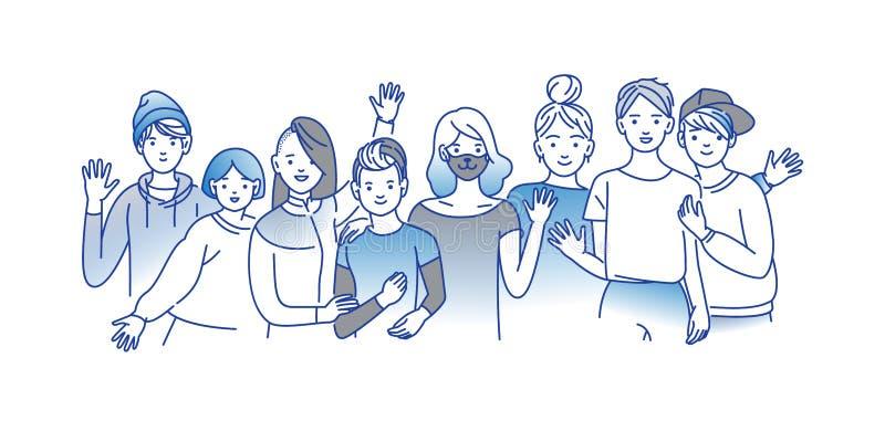 Grupo de adolescentes y de muchachas sonrientes que se unen, abrazándose, manos que agitan Los estudiantes felices aislaron libre illustration