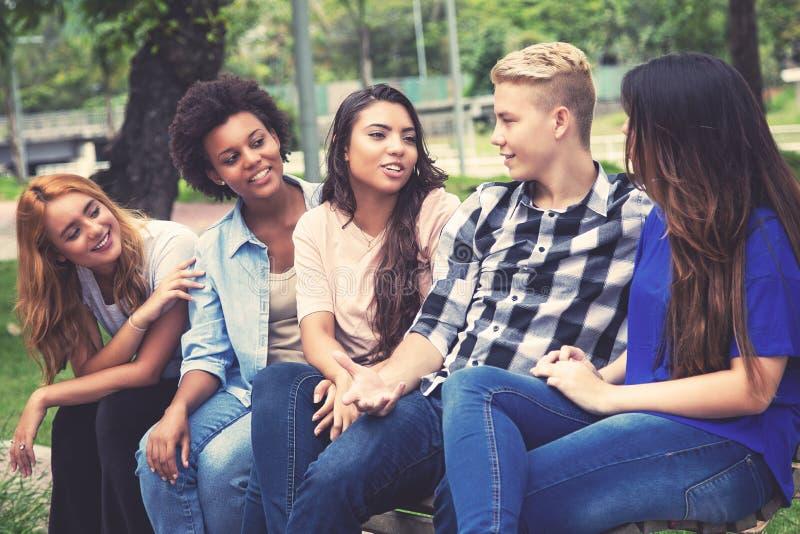 Grupo de adultos novos latino-americanos e africanos de refrigeração foto de stock royalty free