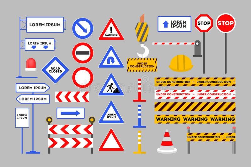 Grupo de advertência do sinal de estrada Barreira alaranjada e símbolo vermelho do cone ilustração stock