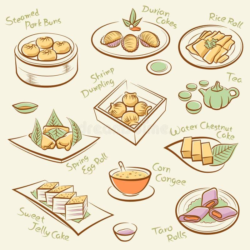 Grupo de alimento chinês. ilustração do vetor