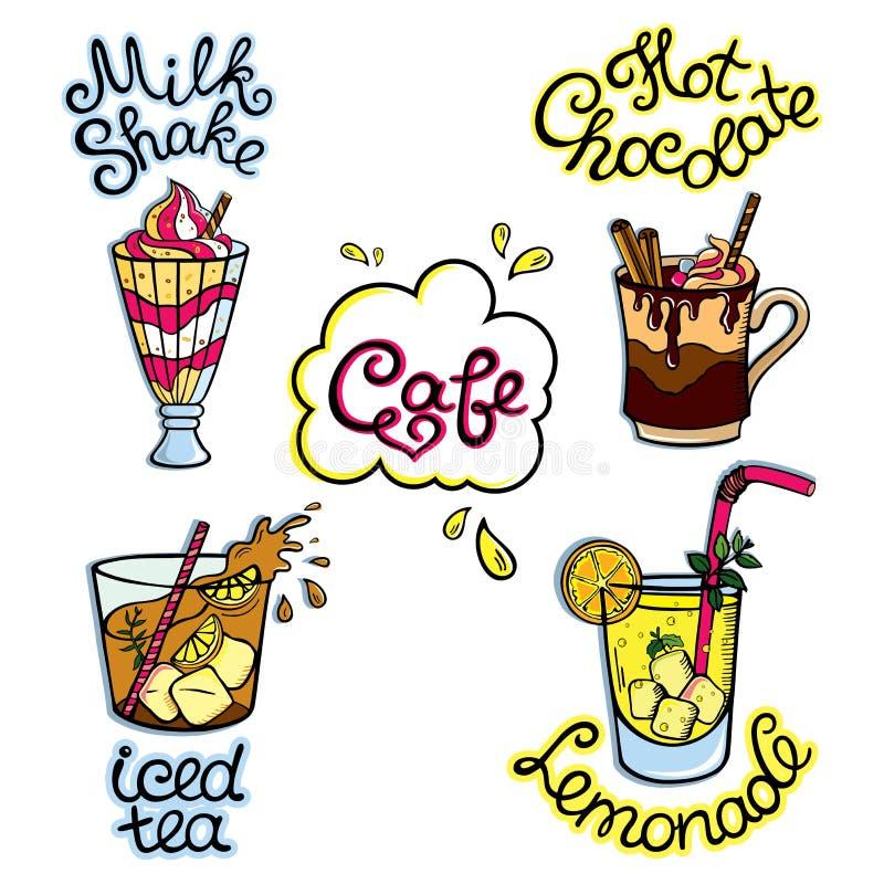 Grupo de alimento desenhado à mão dos desenhos animados ilustração do vetor