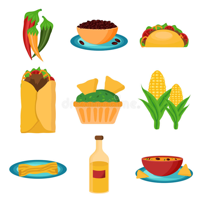 Grupo de alimento do mexicano dos desenhos animados fotografia de stock