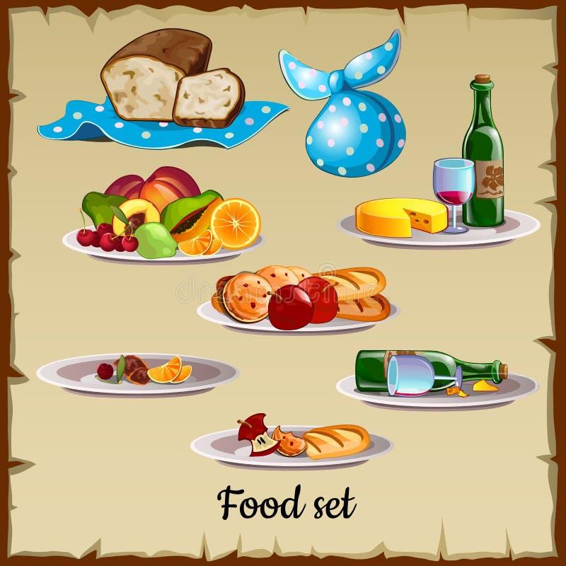 Grupo de alimento e de desperdício ilustração stock