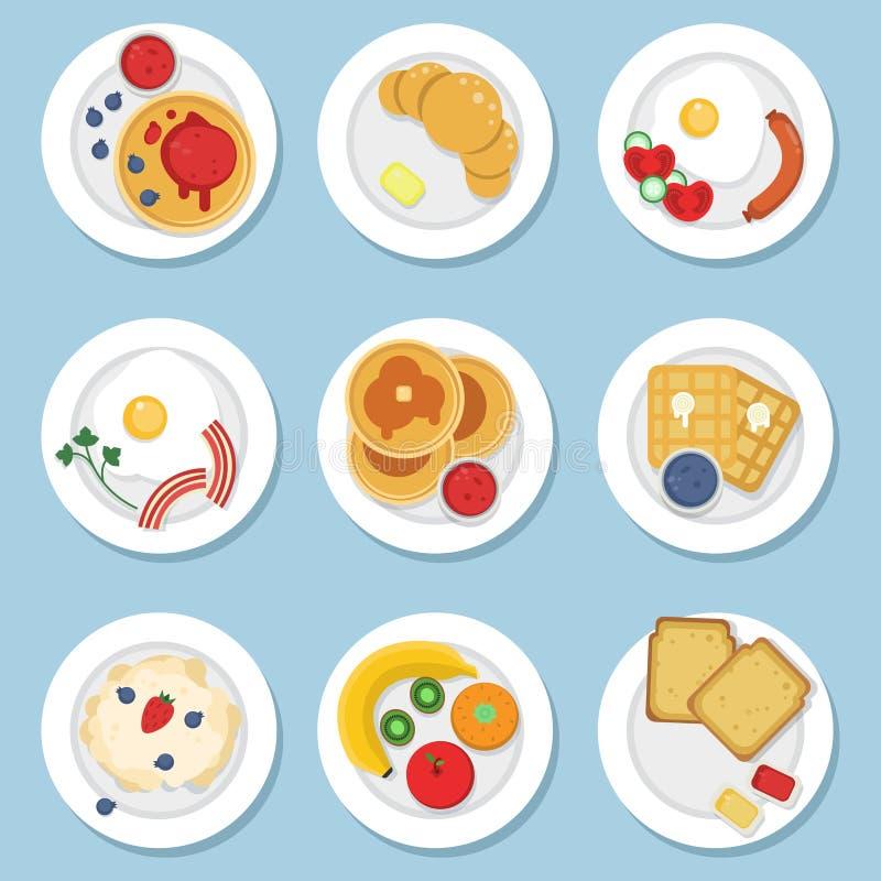 Grupo de alimento saudável para o café da manhã ilustração do vetor