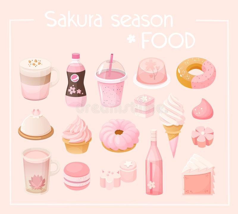 Grupo de alimento temático da vária estação de sakura ilustração do vetor