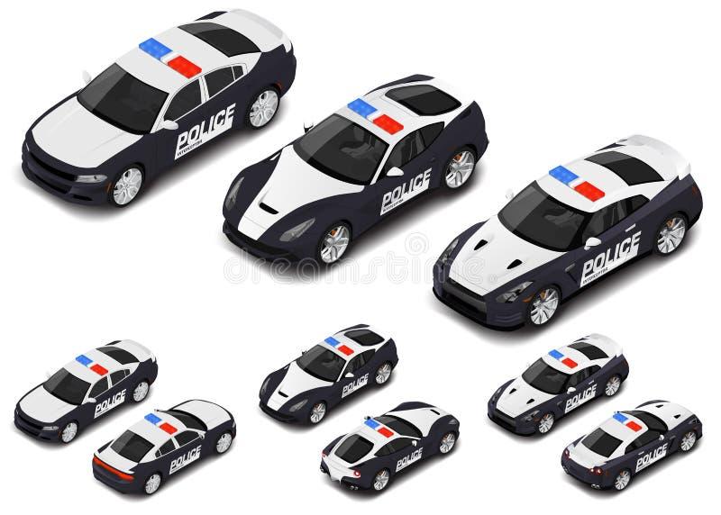 Grupo de alta qualidade isométrico do carro desportivo da polícia do vetor Ícone da polícia ilustração stock