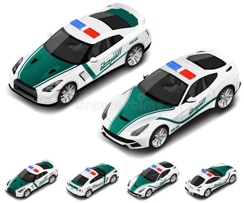 Grupo de alta qualidade isométrico do carro desportivo da polícia do vetor Ícone da polícia Tradução de texto ilustração do vetor