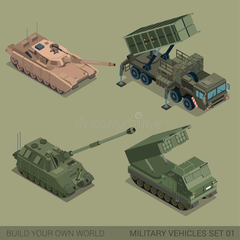 Grupo de alta qualidade isométrico liso do ícone dos veículos 3d militares ilustração stock