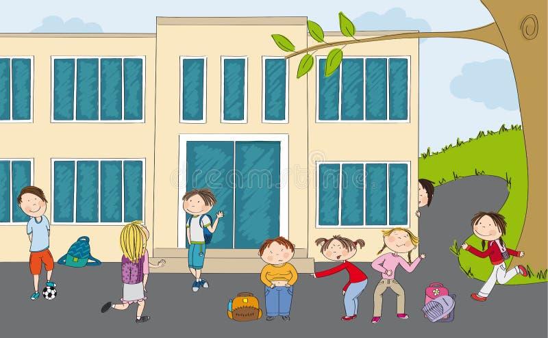 Grupo de alumnos delante de la construcción de escuelas ilustración del vector