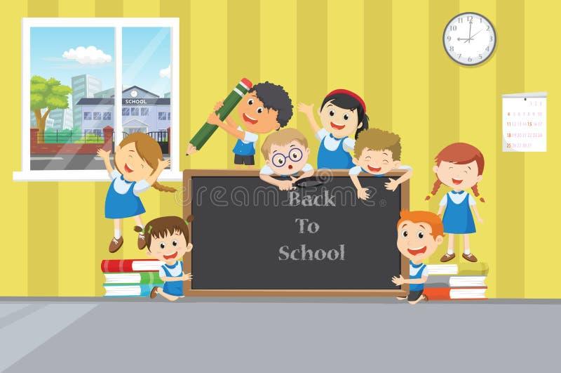 Grupo de alunos felizes com o quadro no clasroom ilustração royalty free