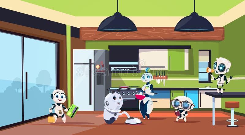 Grupo de amas de casa de los robots que limpian el sitio de la cocina libre illustration