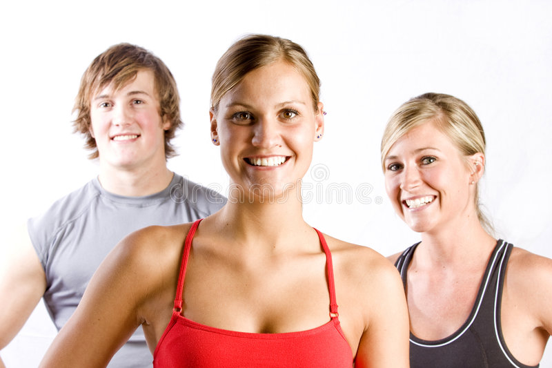 Grupo de amigos atléticos fotos de stock