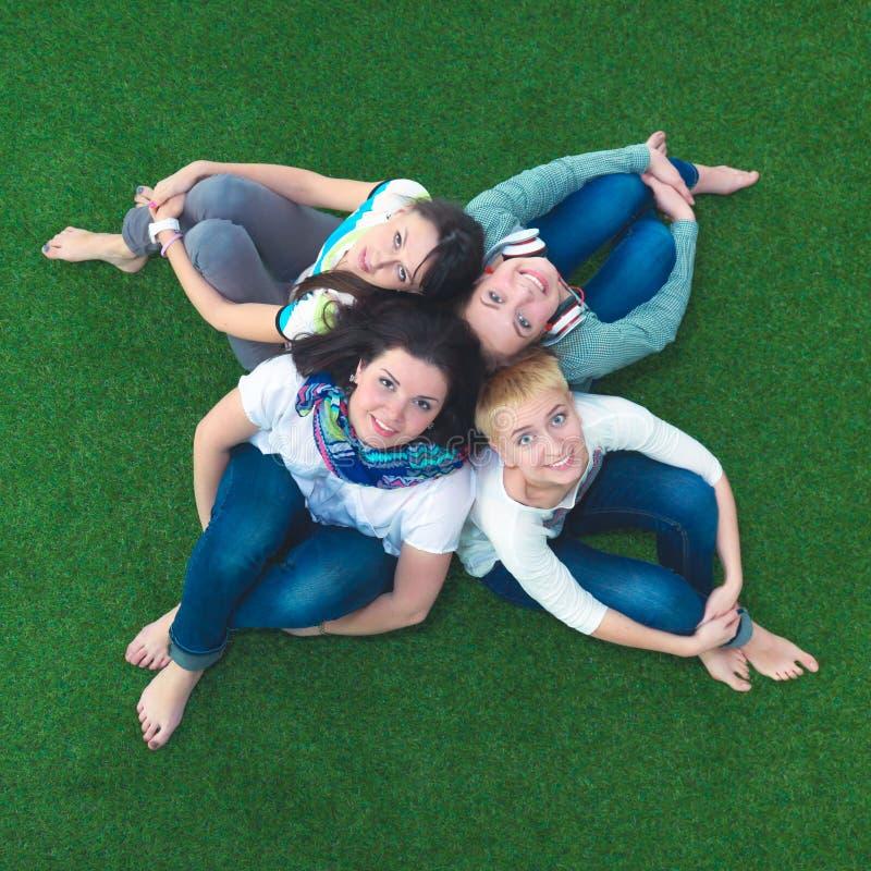 Grupo de amigos de sorriso que encontram-se na grama no círculo foto de stock royalty free